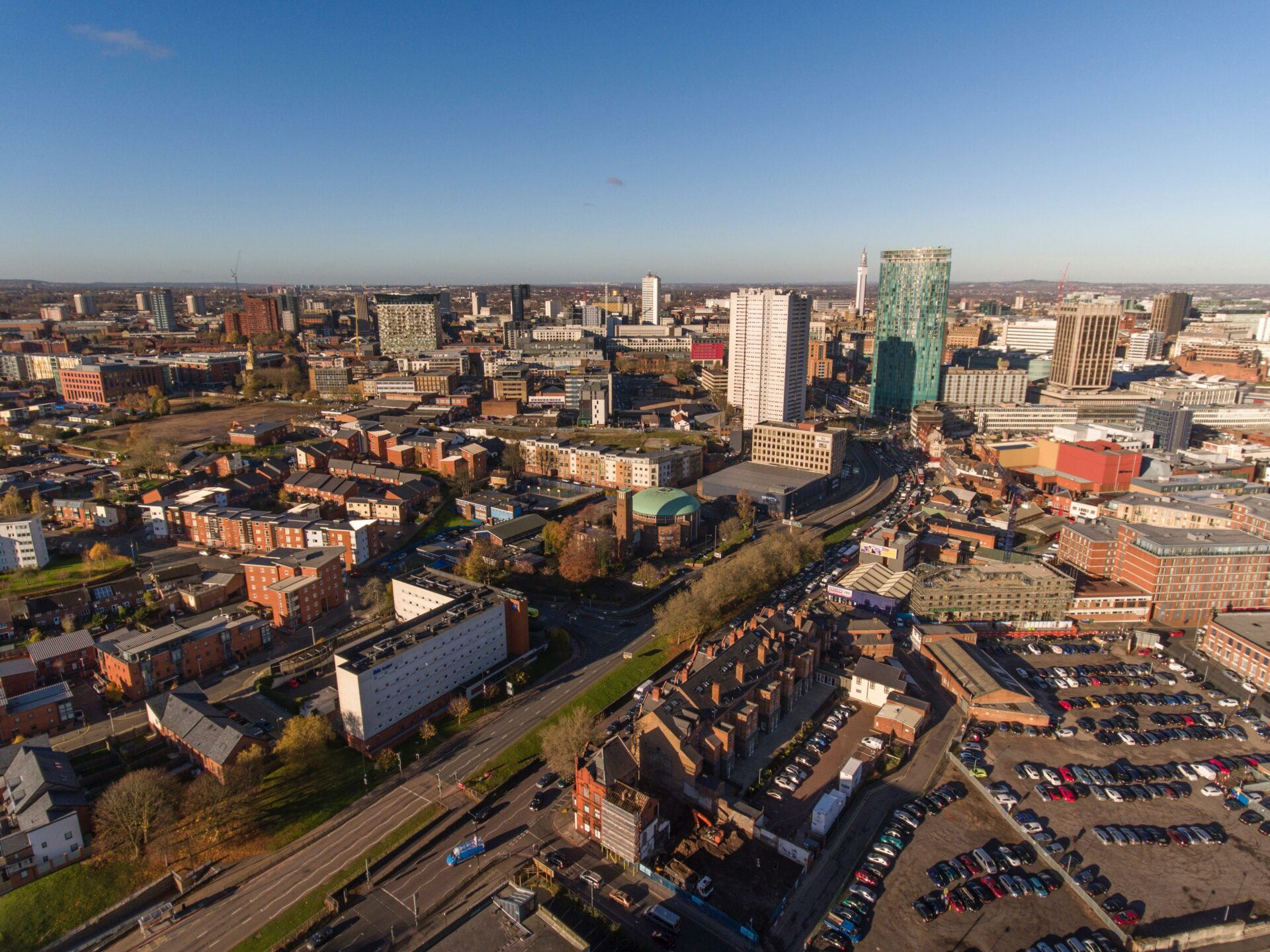 View of the Birmingham city skyline, featuring tall buildings to highlight urban densification (including the construction of new homes)taking place in this local authority.